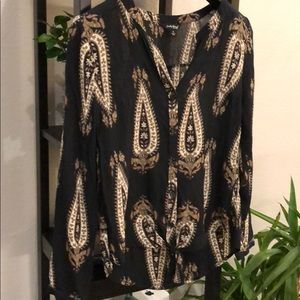 Lucky Brand Paisley Long Sleeve (ties in front!)